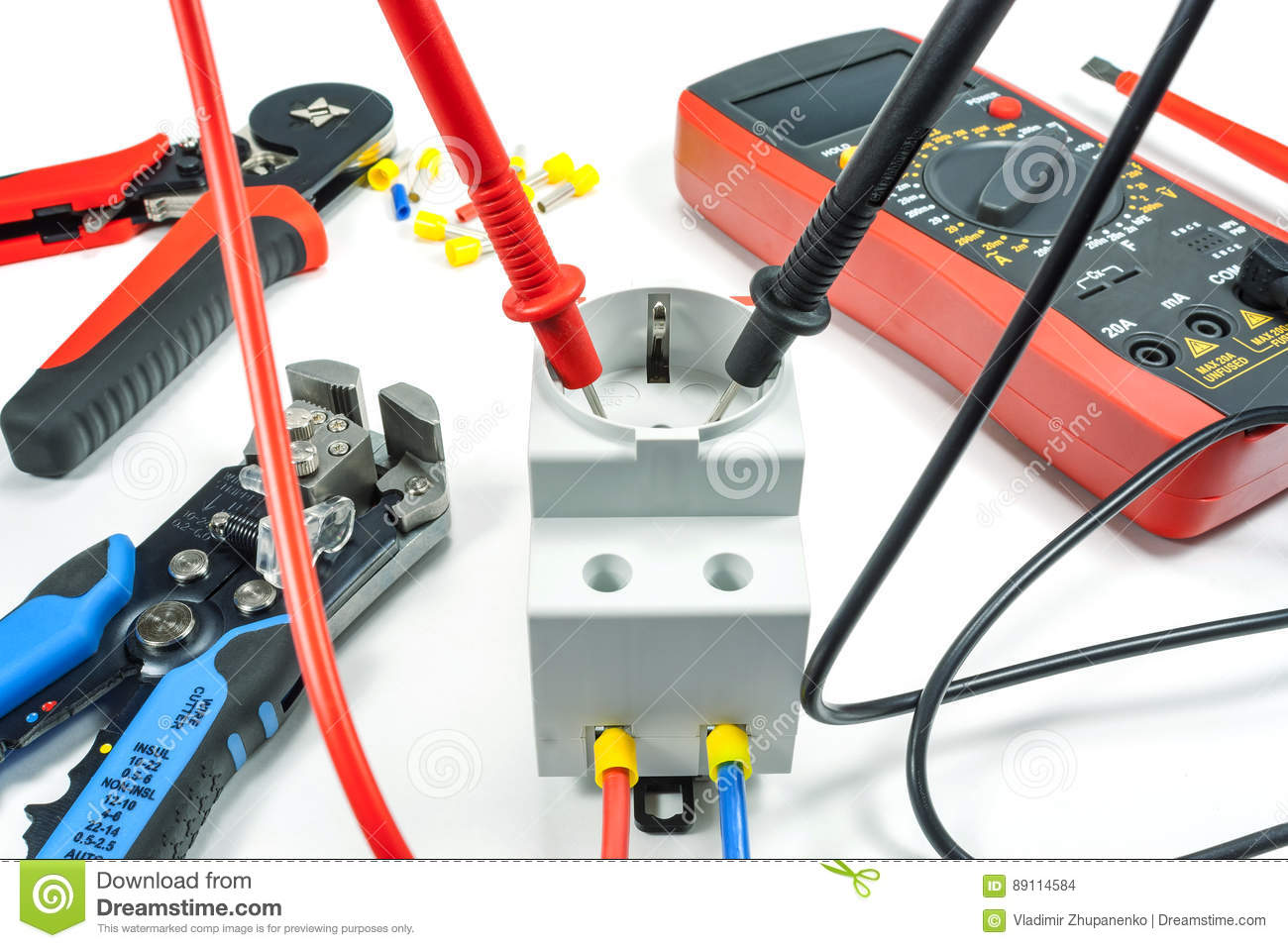 Measurement Of Voltage In Electrical Outlet With A Multimeter On A ...
