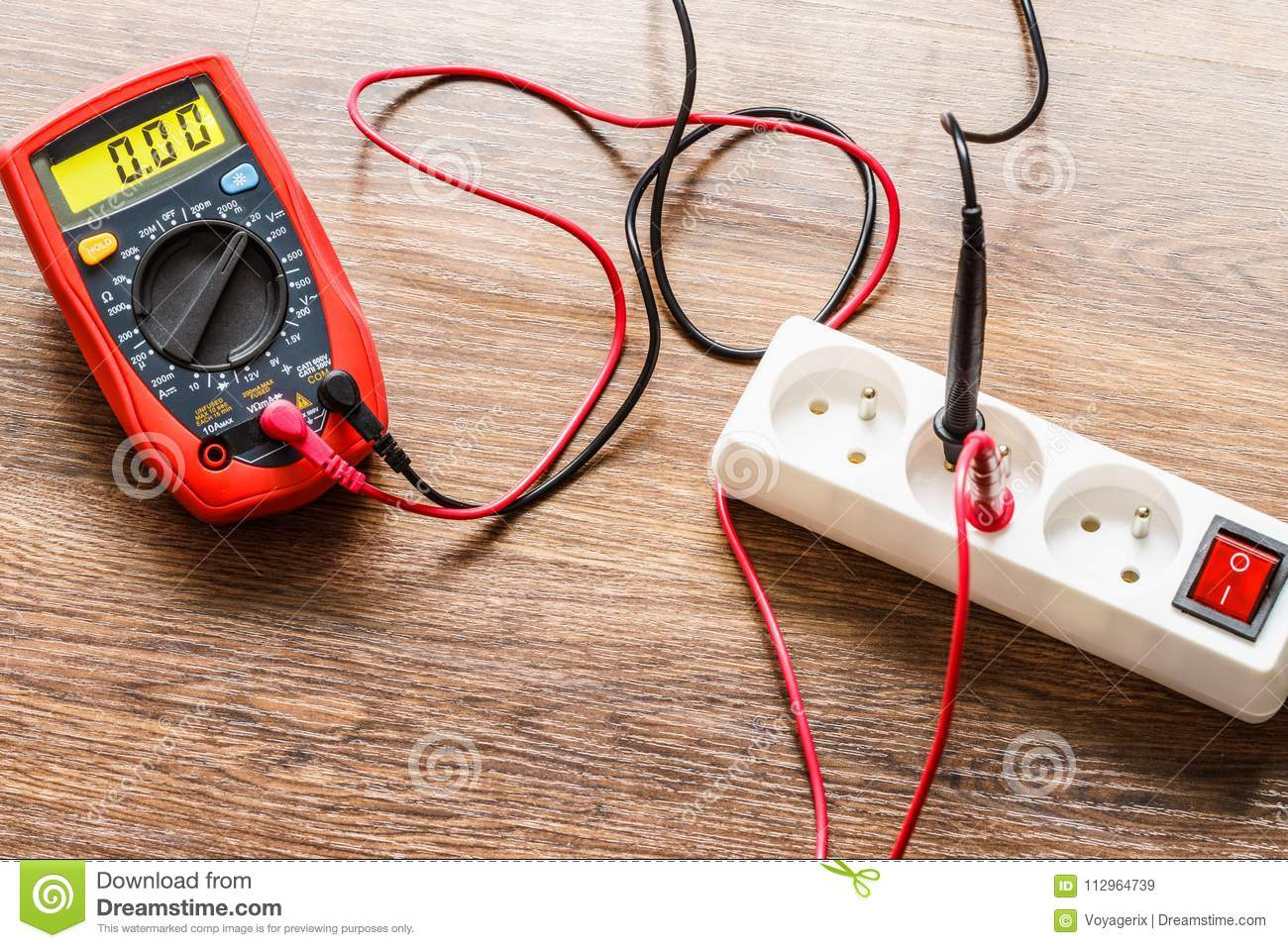 Measurement Voltage In Electrical Socket With Multimeter Stock Image Ac Wiring