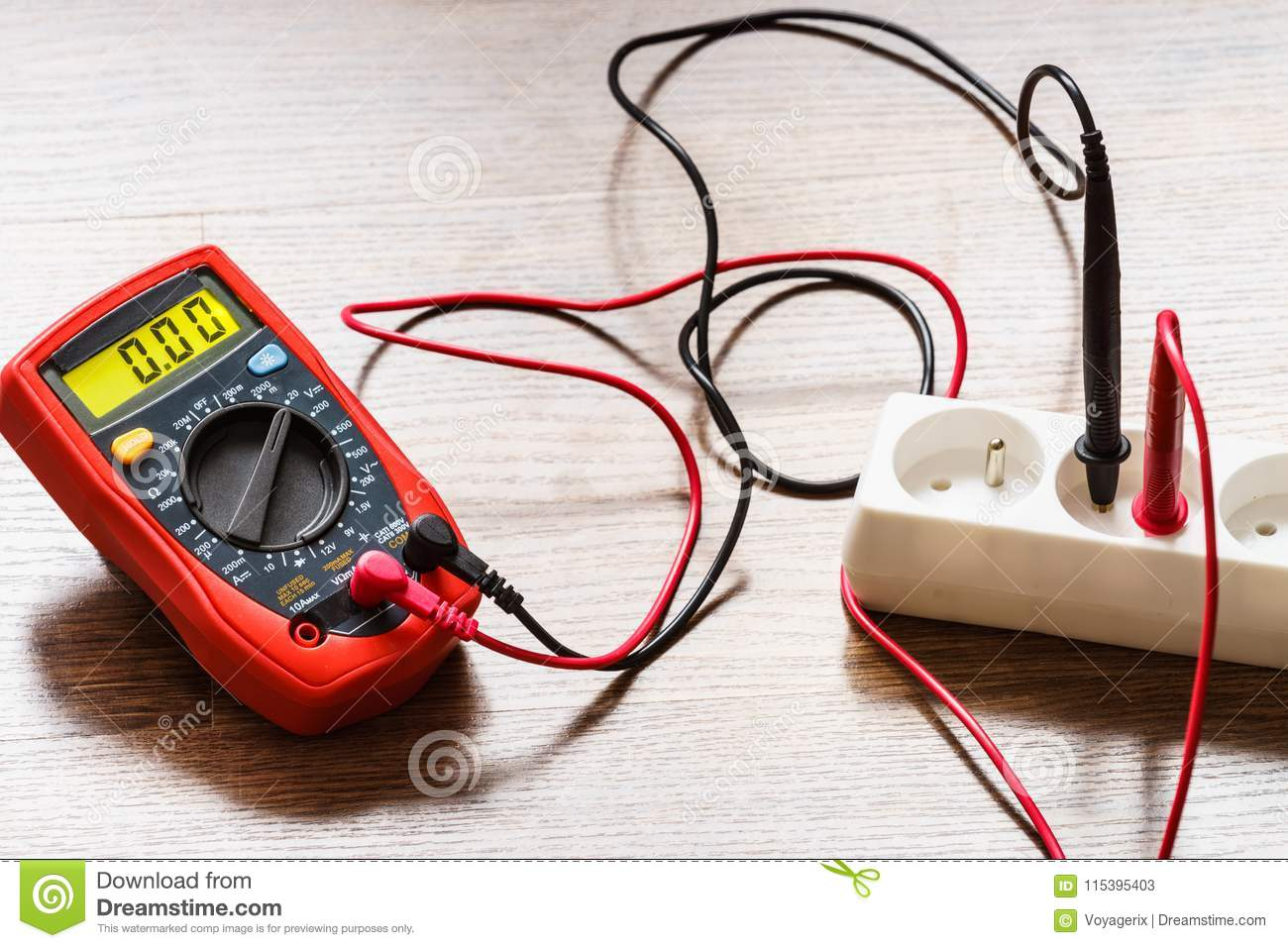 Measurement Voltage In Electrical Socket With Multimeter ... on