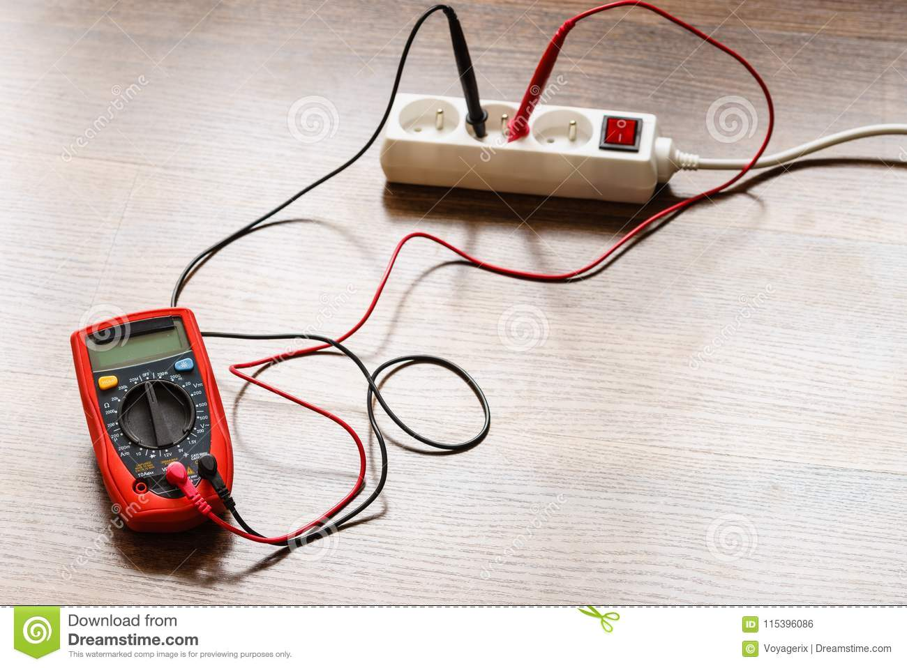 Measurement Voltage In Electrical Socket With Multimeter Stock Photo Electronics Test Circuit For A Series Including Voltmeter