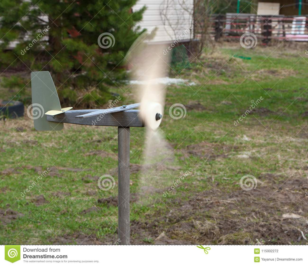 Download Fast Rotating Blades Of Weather Vane In Garden. Stock Photo    Image Of Instrument