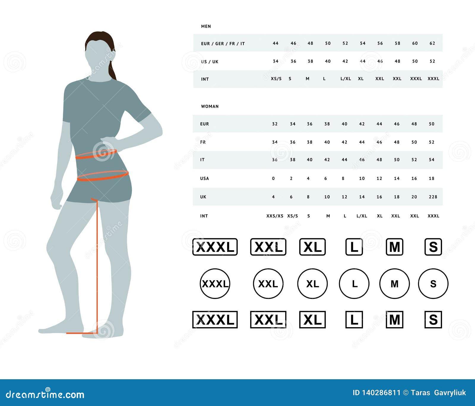 Size Chart For Women Stock Vector. Illustration Of Body