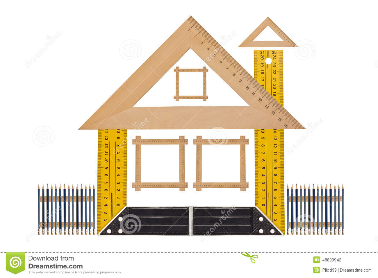 Measuring the angle and length stock photo image of for Right angle house