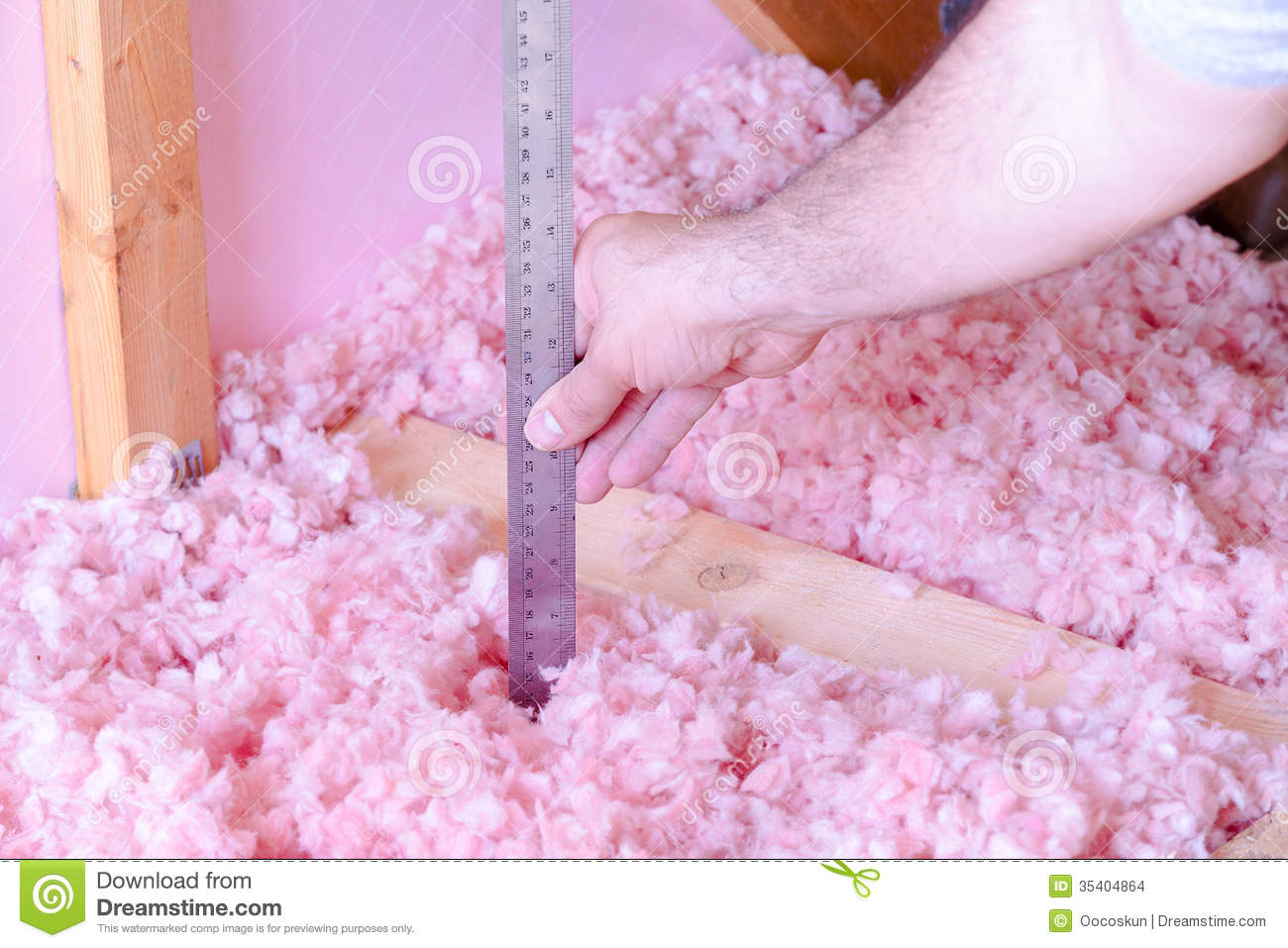 Measuring attic energy efficiency stock photo image of for Fiberglass insulation sizes