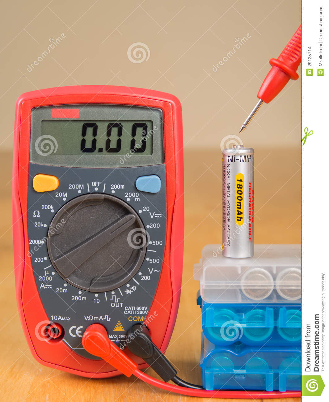 measuring battery voltage with multimeter stock photo image 29125714. Black Bedroom Furniture Sets. Home Design Ideas