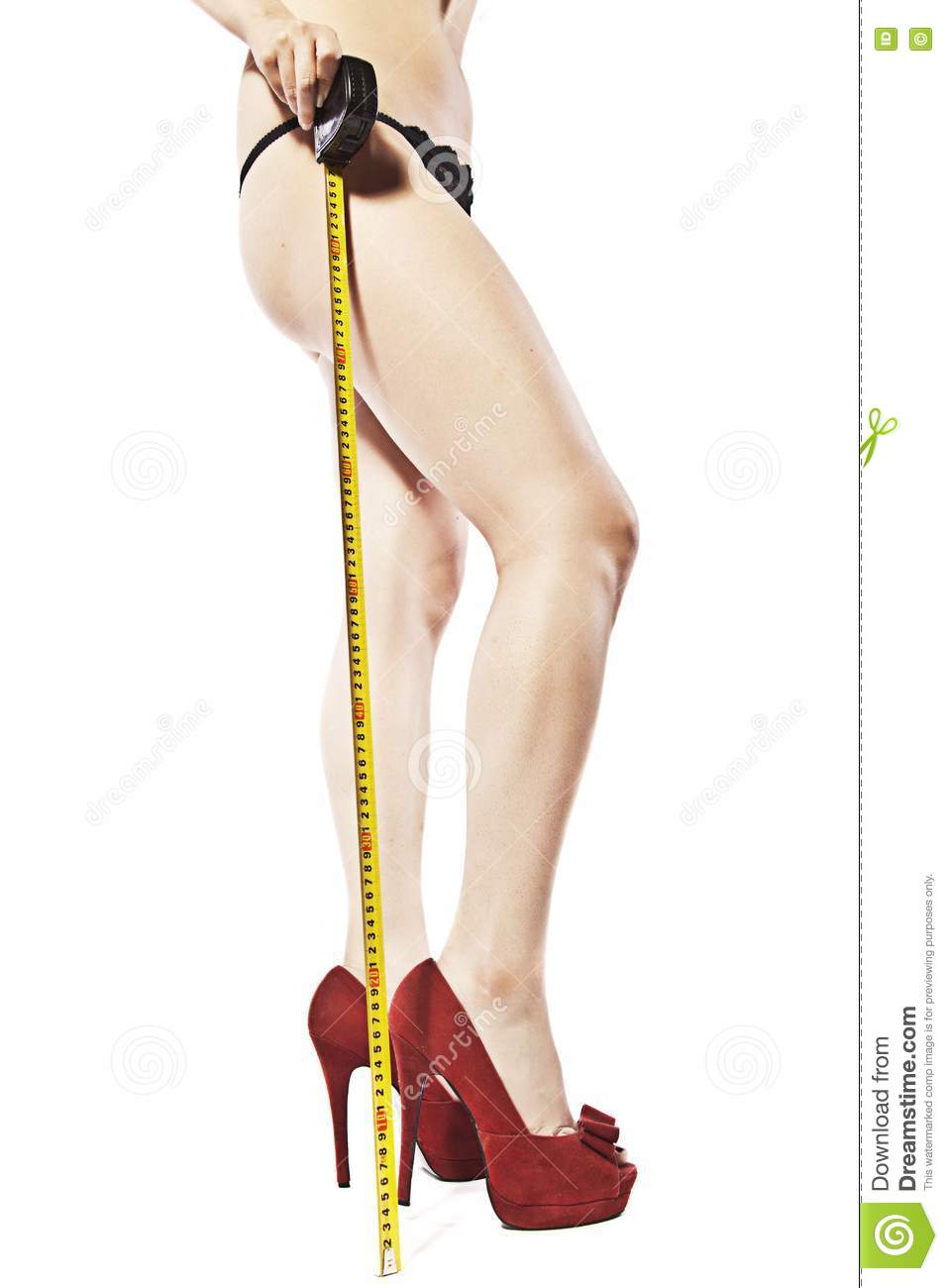 Measuring Her Legs Stock Photo  Image Of White  Shoes