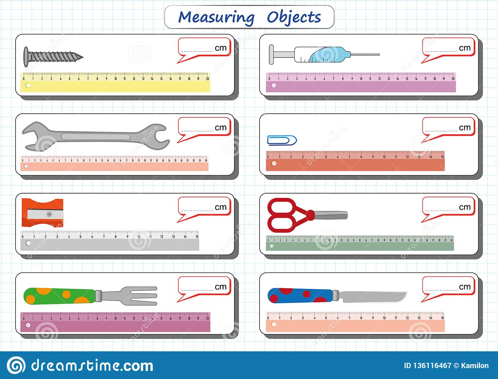Measuring Length Of The Objects With Ruler Worksheet For Children