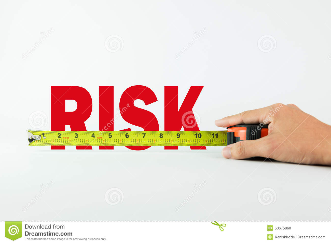 Measure the word Risk with measuring tape on white background.