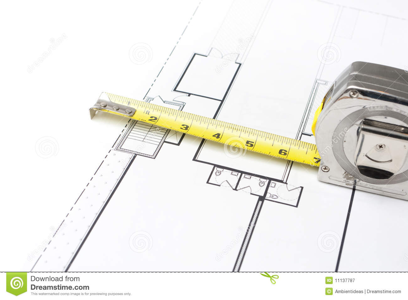 Stupendous Measuring Tape On Floor Plans Stock Image Image Of Diagram Length Wiring Digital Resources Dimetprontobusorg