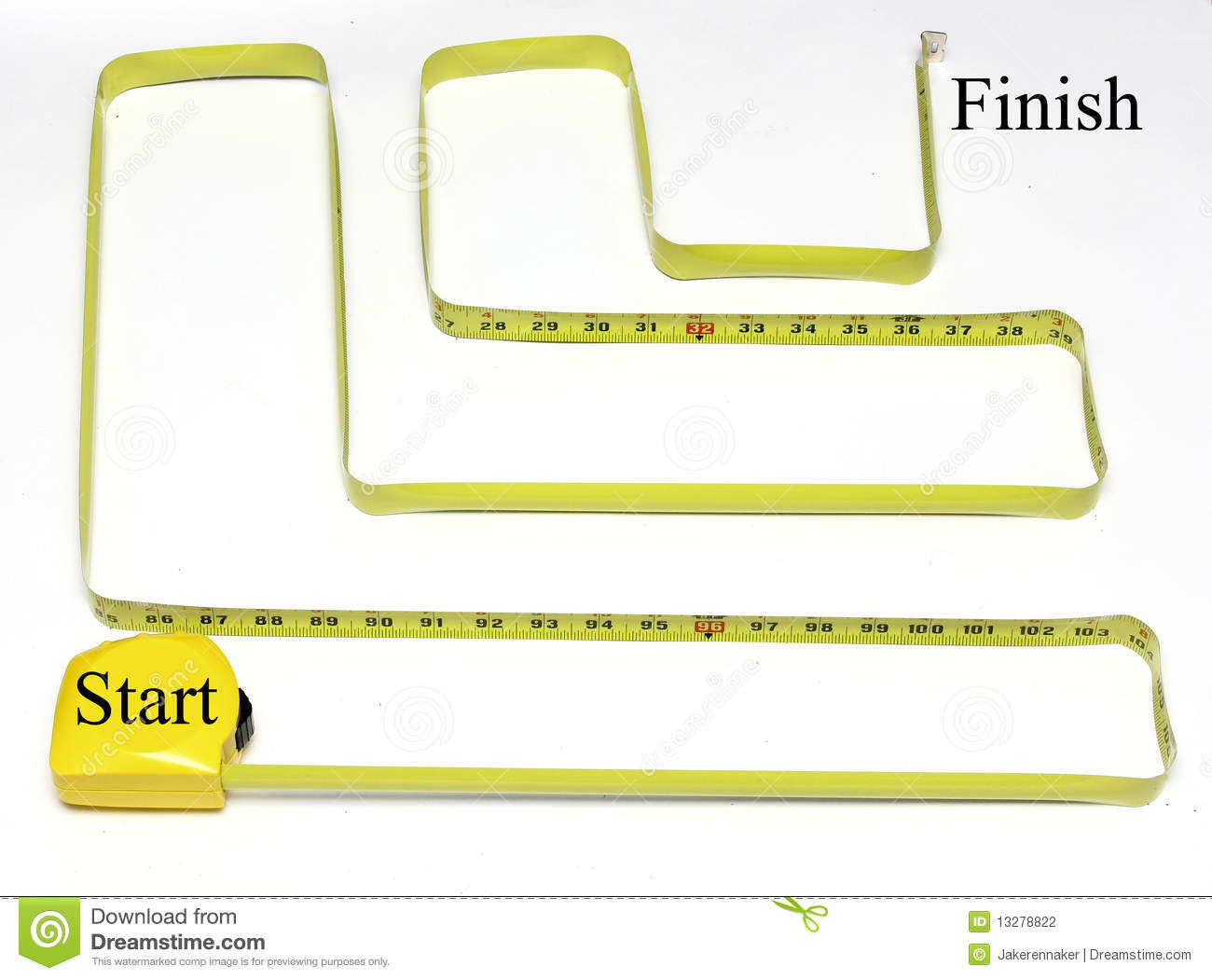 Measuring tape twisted and turned to make a maze with a start and ...