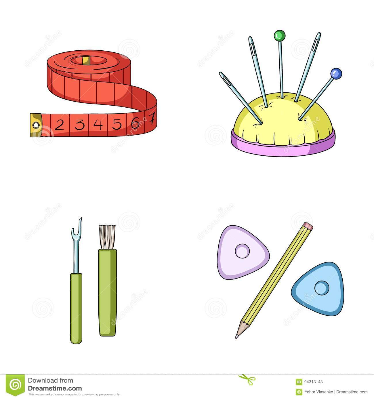 Measuring Tape, Needles, Crayons And Pencil.Sewing Or ...