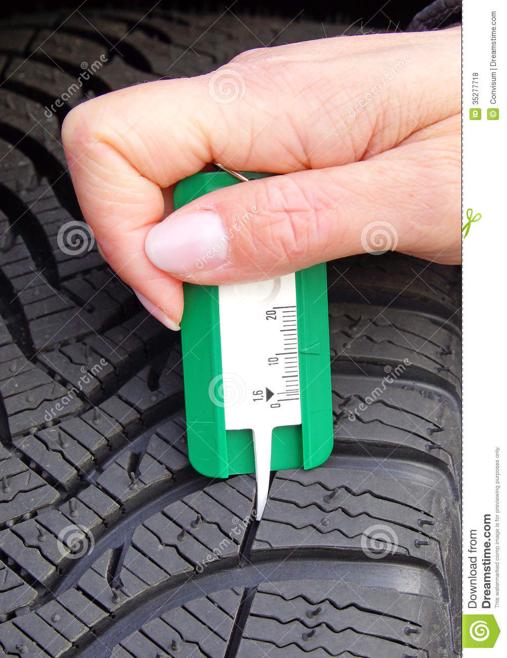 Tire Tread Measurement Tool : Measuring tread in winter tyre royalty free stock photos