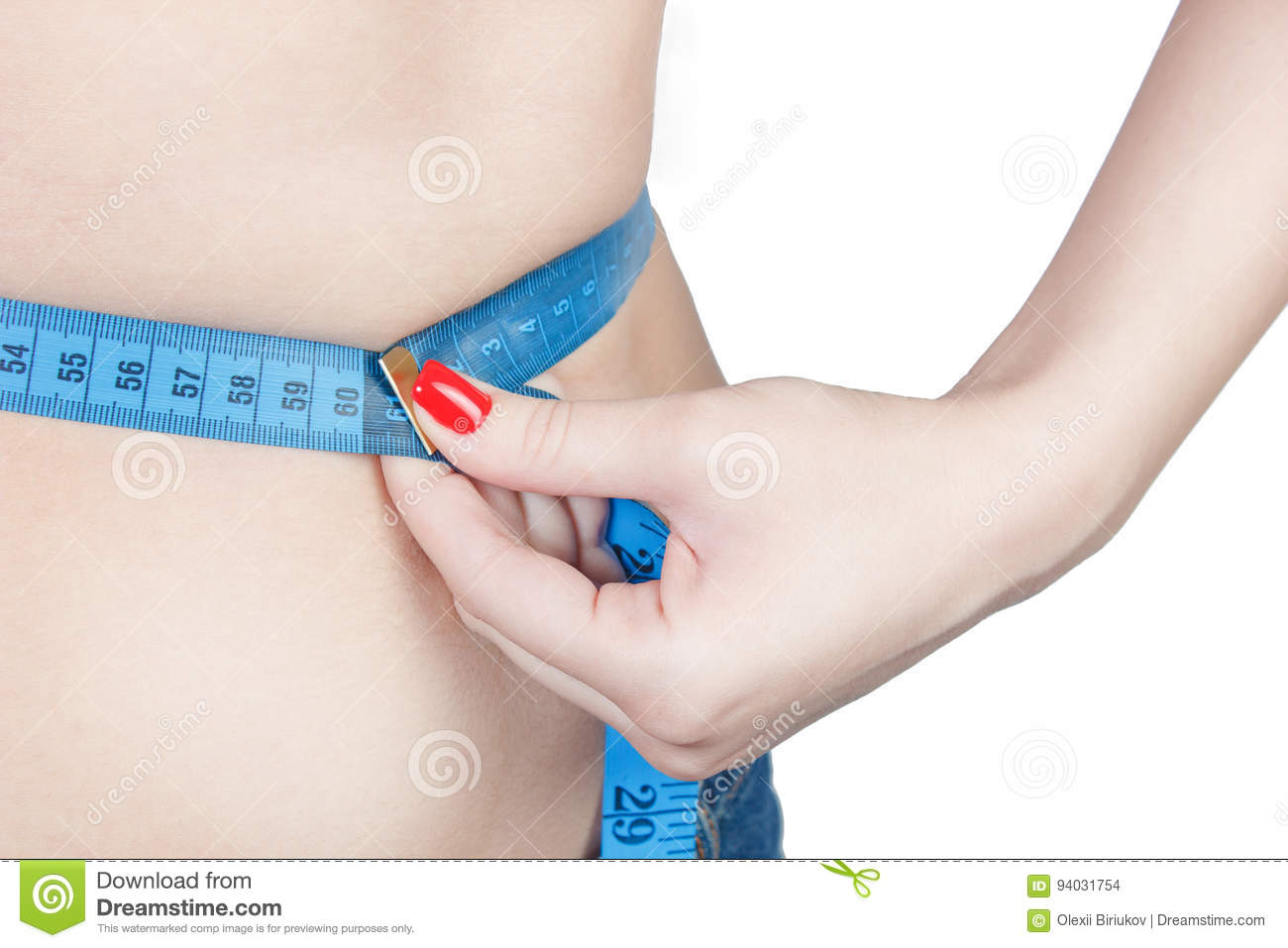 Measuring Waist, Lose Weight  Woman Whith Red Nails Stock