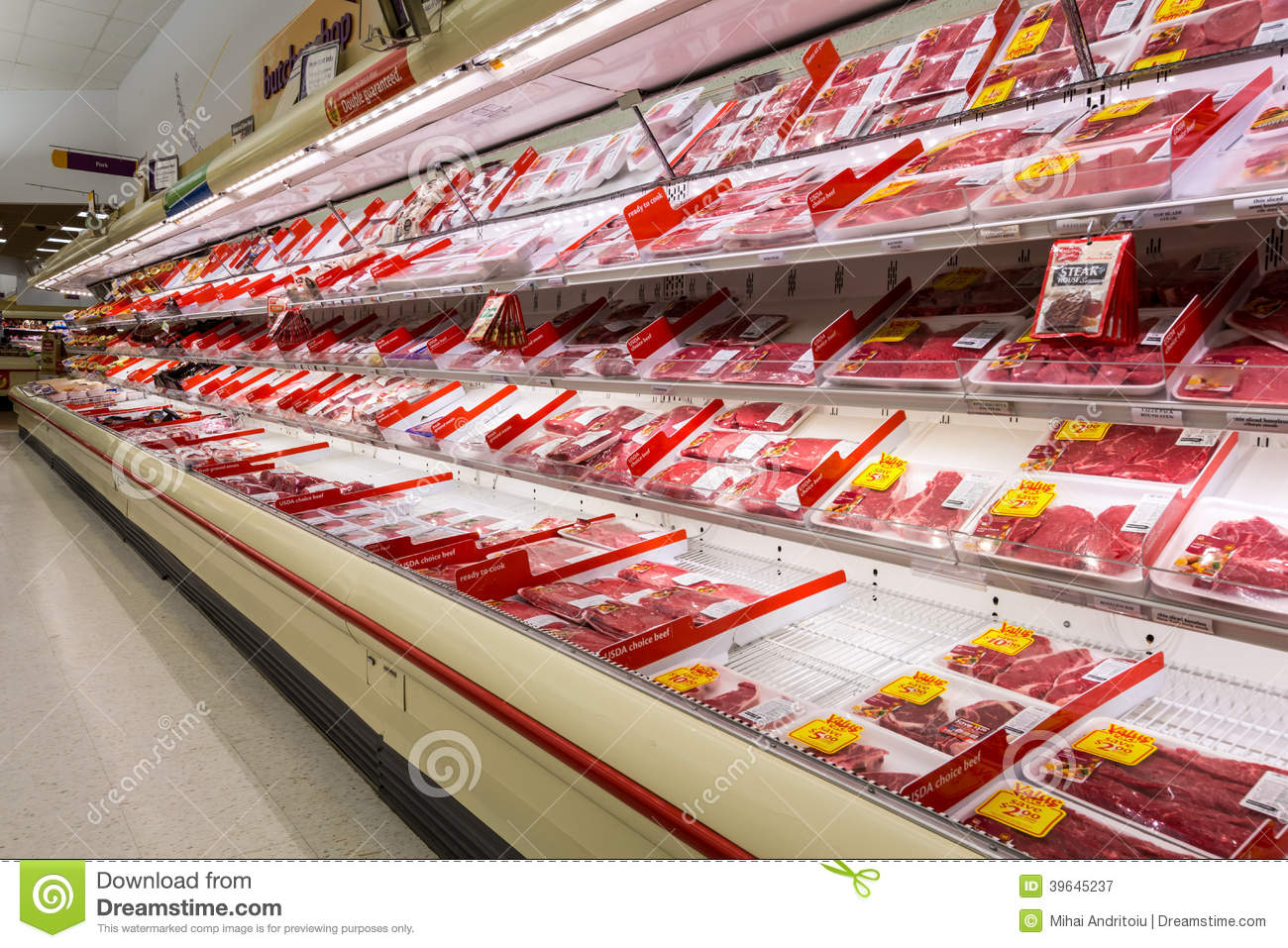 Meat Aisle In An American Supermarket Editorial