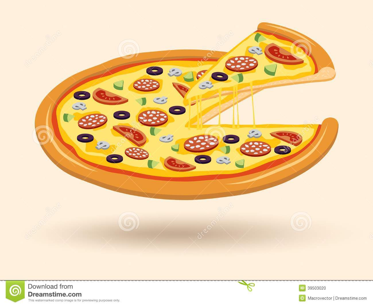 Meat cheese pizza symbol