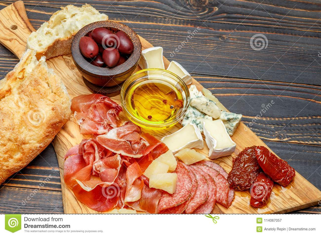 Meat And Cheese Plate With Salami Sausage Chorizo Parma And Brie Cheese Stock Image Image Of Portion Food 114067057