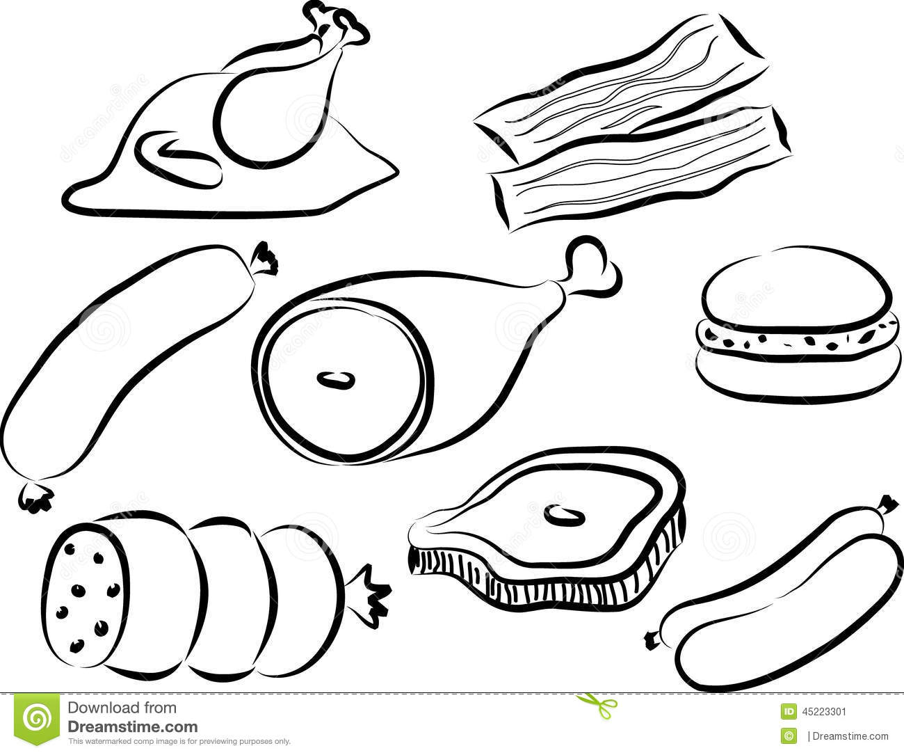 meat doodle stock vector image 45223301 turkey feather clipart black and white cooked turkey clipart black and white