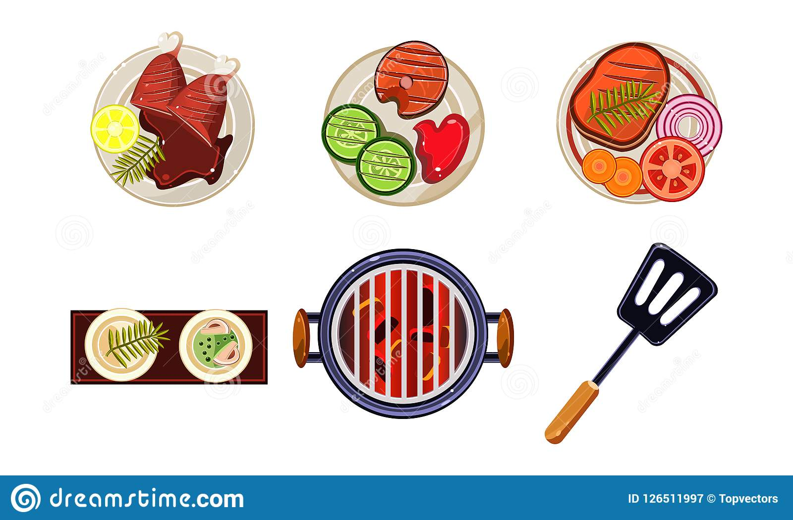 Meat and fish dishes cooked on the grill, tasty healthy food, top view vector Illustration on a white background