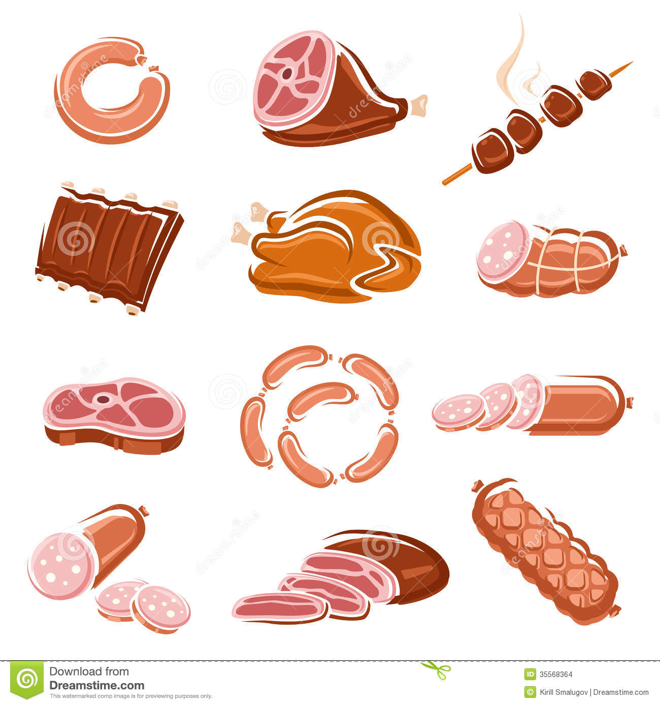 Stock Images Meat Food Set Vector File Eps Format Image35568364 on types of ham cold cuts