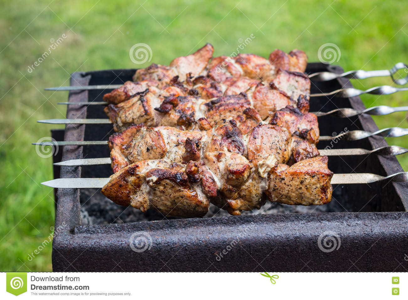 Meat on grill