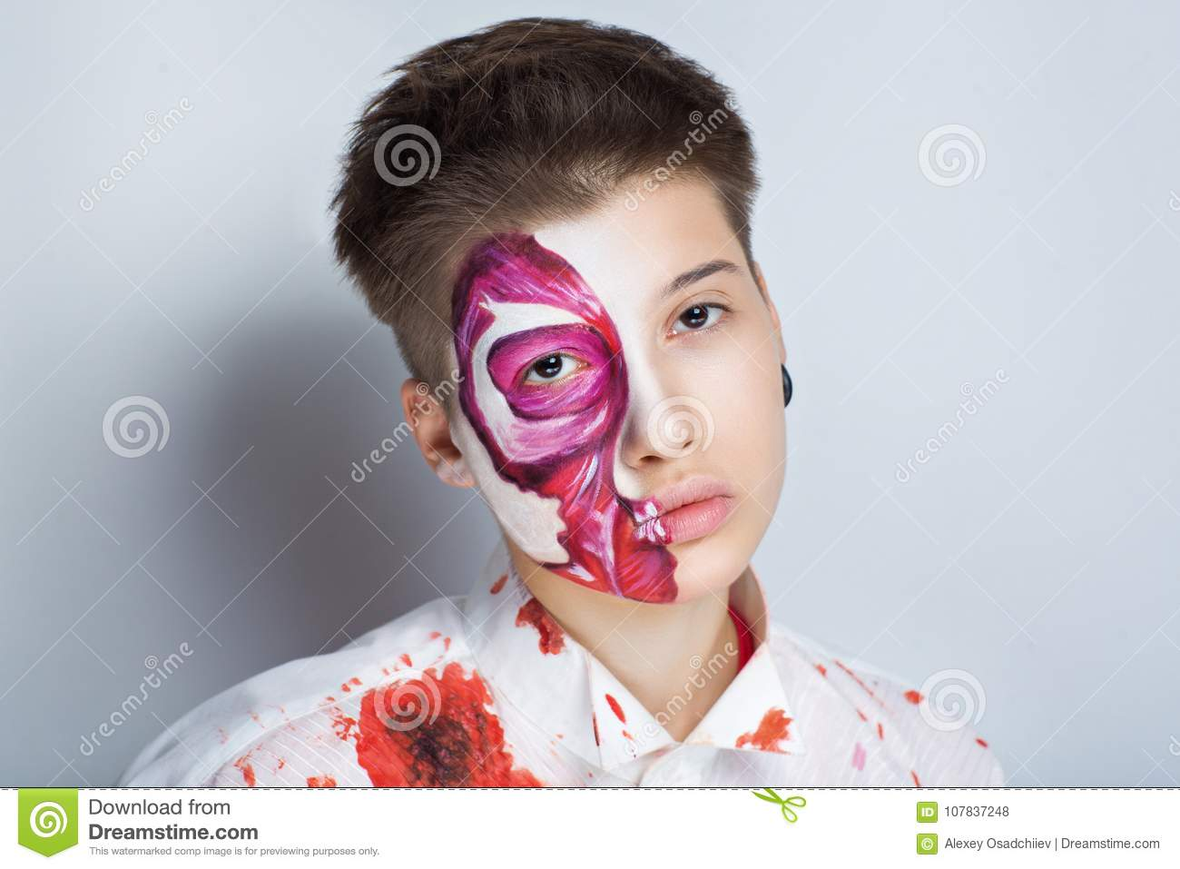 Halloween Costume Ideas For Girls With Short Hair.Meat Halloween Makeup Stock Photo Image Of Meat Eyes 107837248