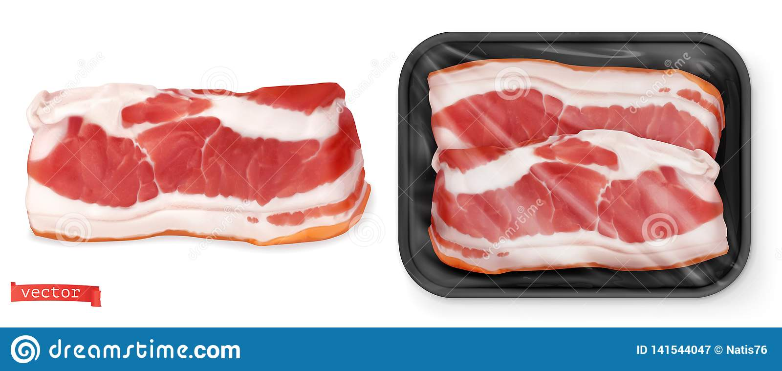 Meat Ny biff i packen Realistisk vektor f?r mat 3d