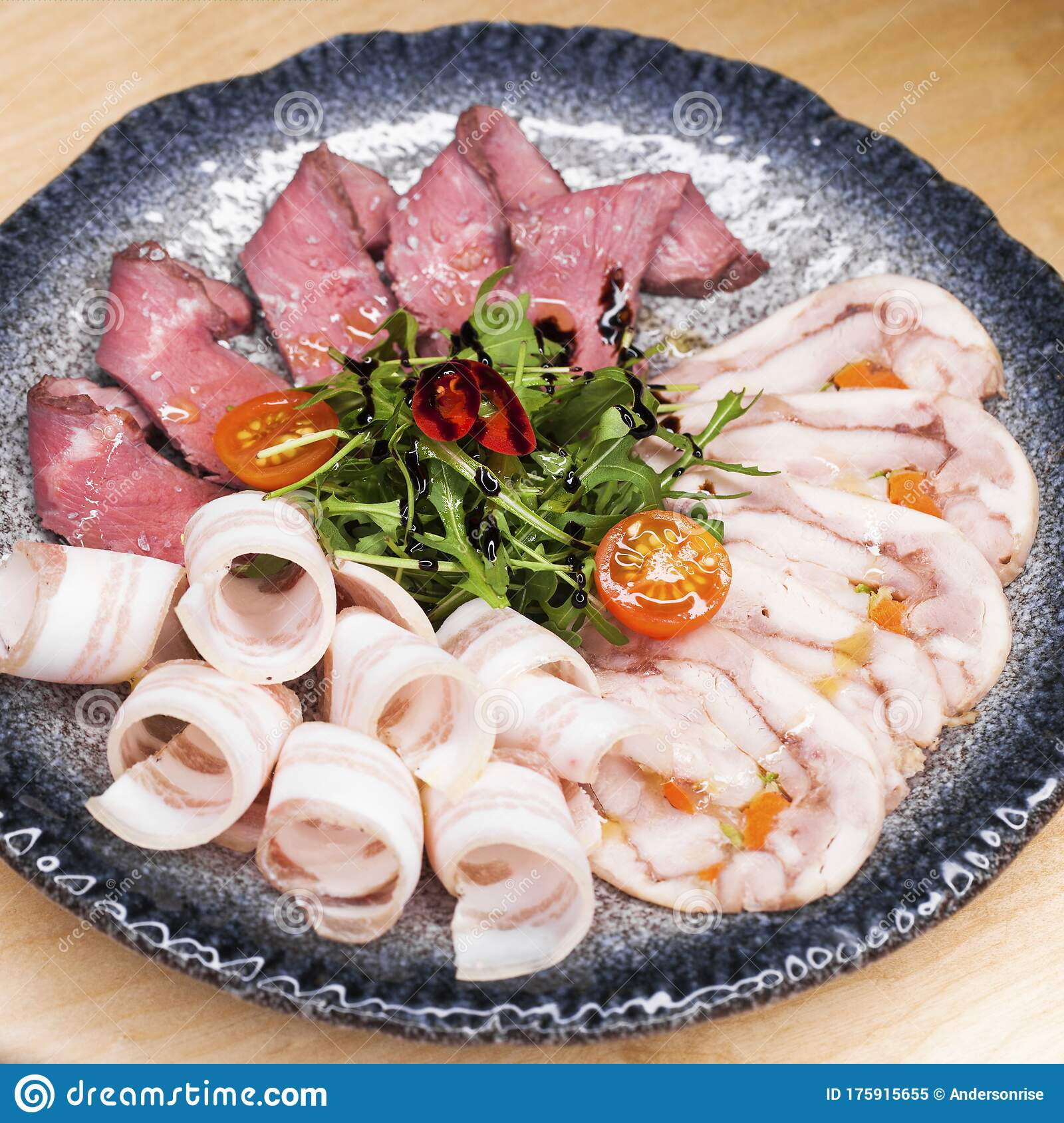 Meat Platter A Snack Under Vodka Stock Image Image Of Blue Cuisine 175915655