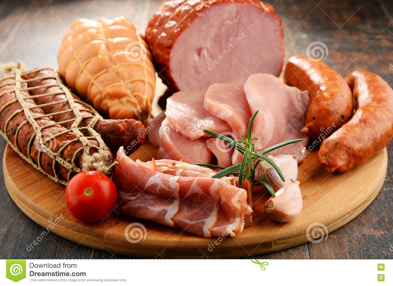 Download Meat Products Including Ham And Sausages Stock Photo - Image of beef, butcher: 79257542