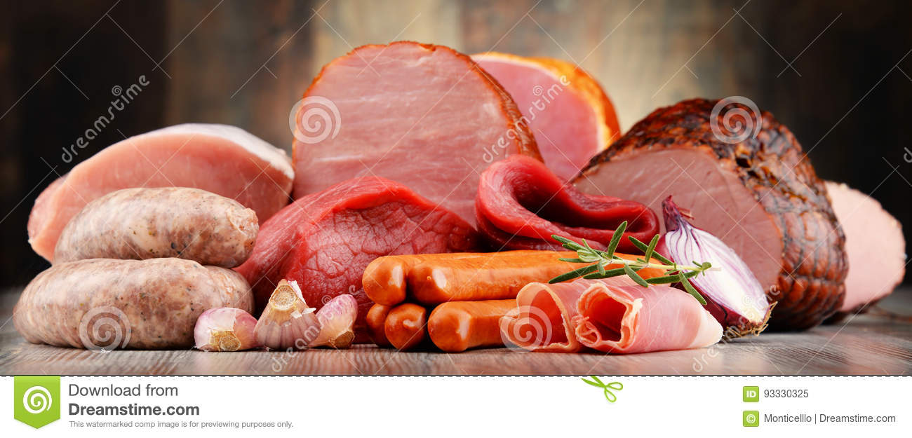Download Meat Products Including Ham And Sausages Stock Image - Image of eating, products: 93330325