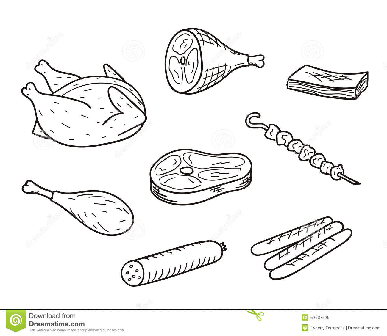 Meat Sketch Set Stock Vector - Image: 52637529