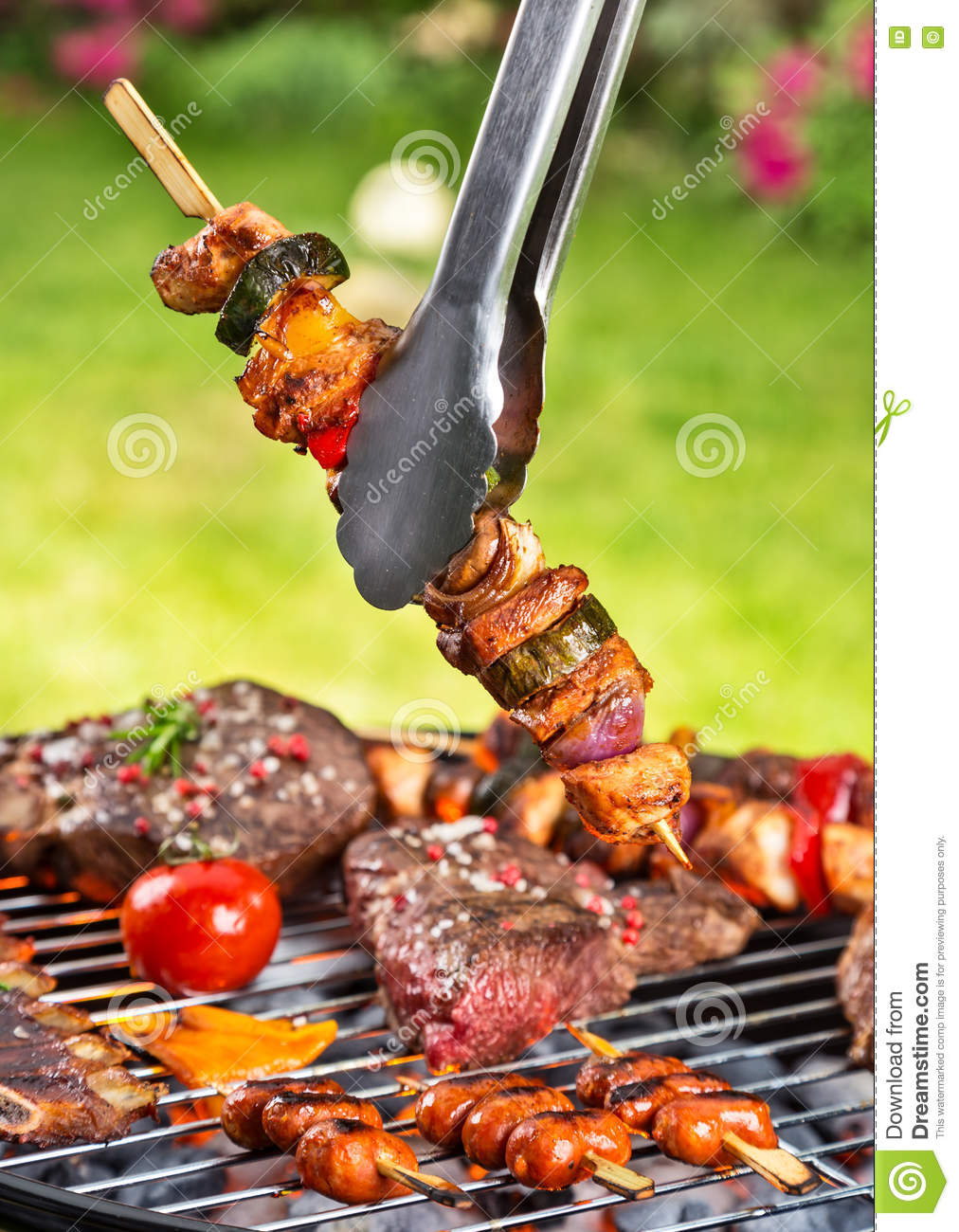 Meat skewer on grill stock photo. Image of outside, cook ...