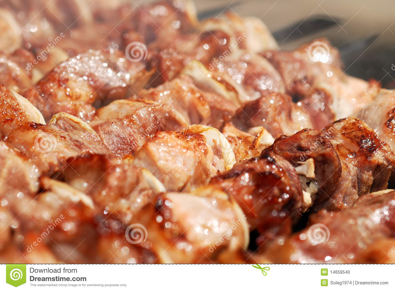Meat slices prepare on fire