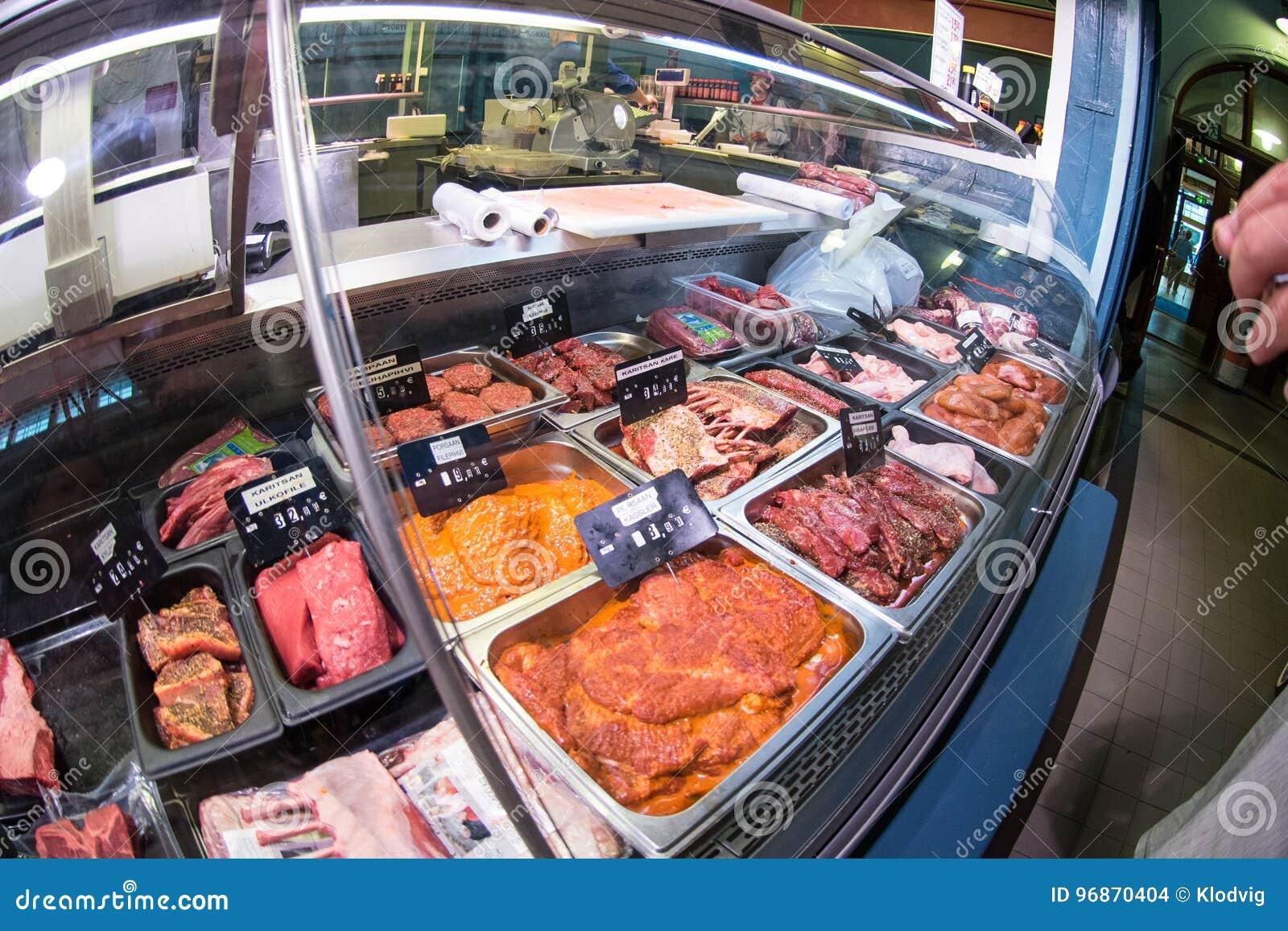 Meat vendor in Tampere Kauppahalli