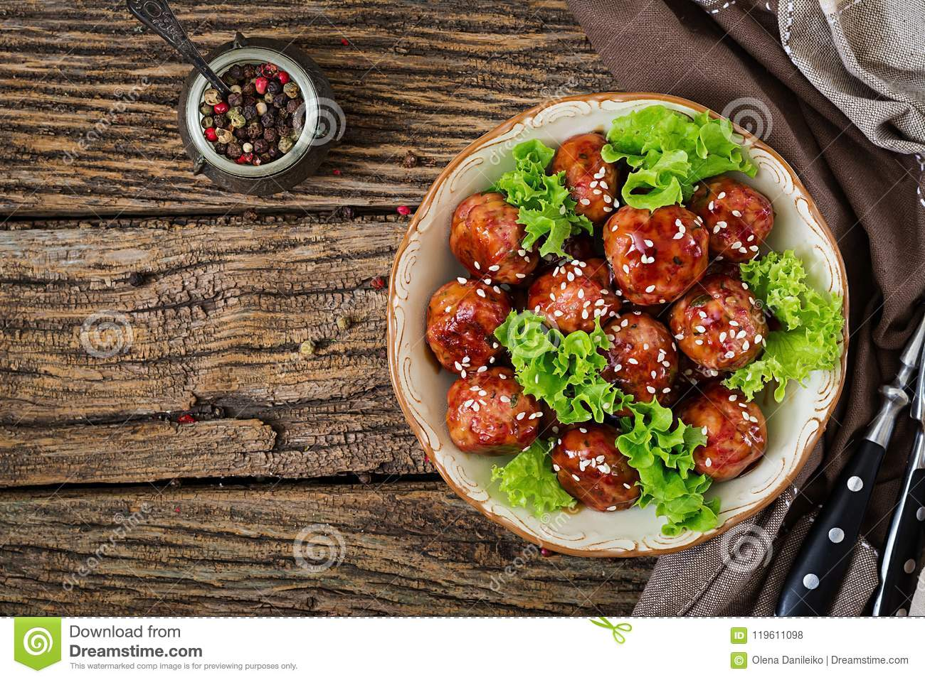 Meatballs with beef in sweet and sour sauce. Asian food.