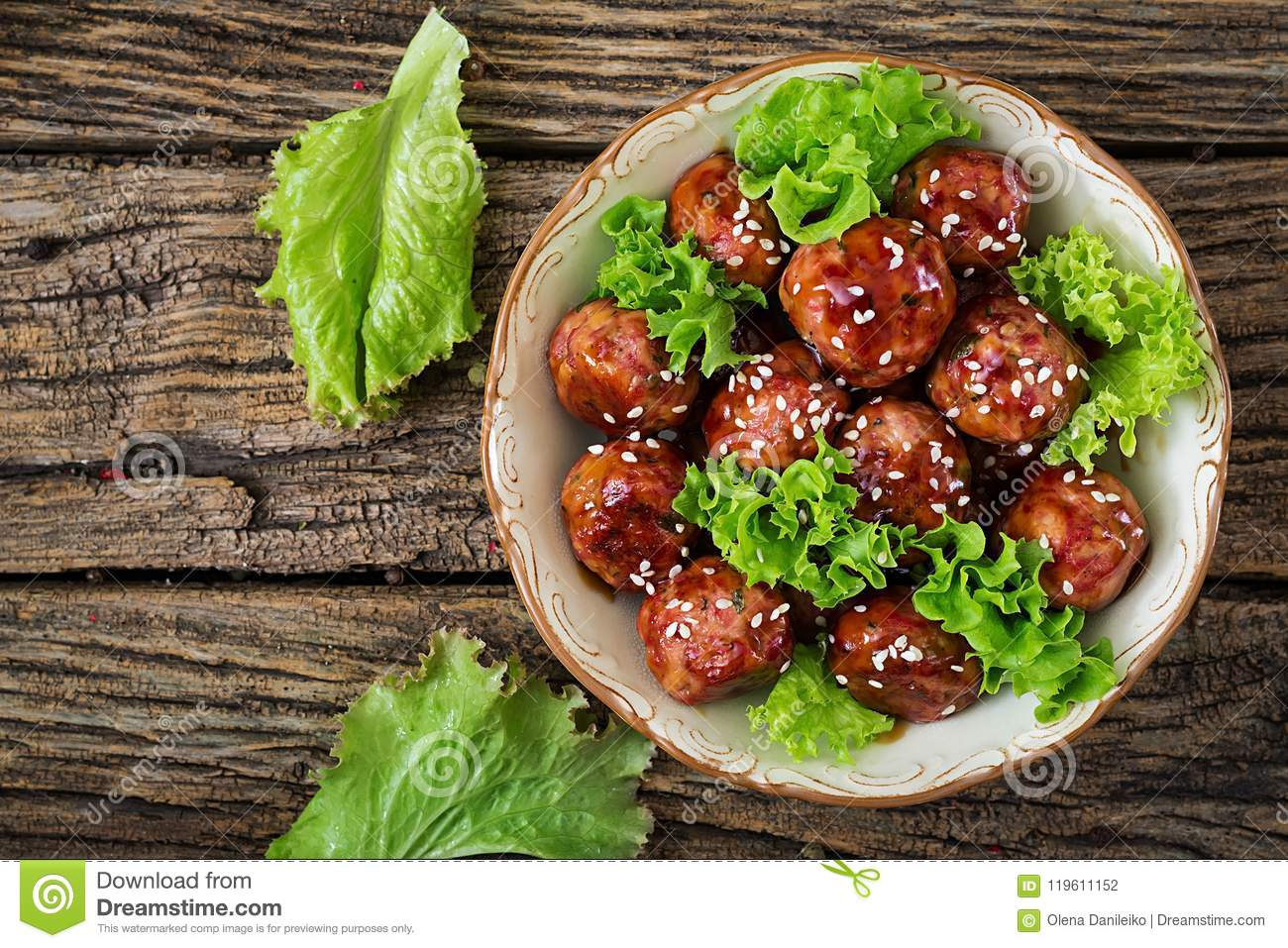 Meatballs with beef in sweet and sour sauce.