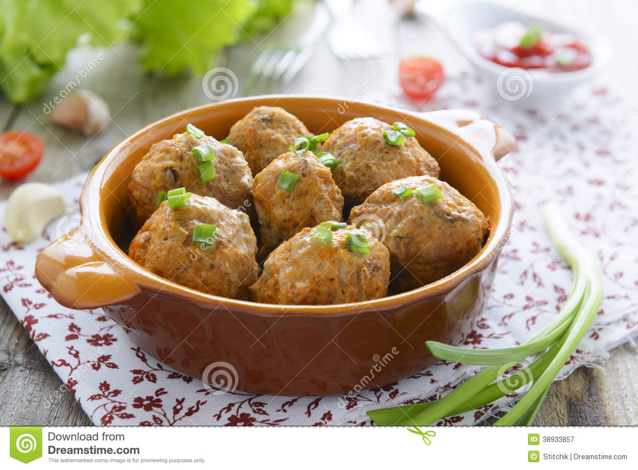 Meatballs and chive