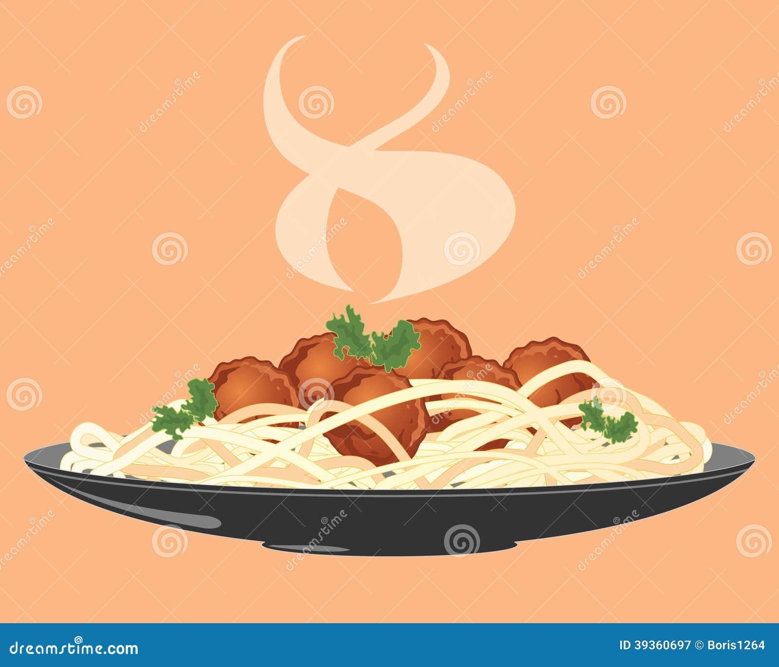 Meatballs And Spaghetti Stock Vector Image 39360697
