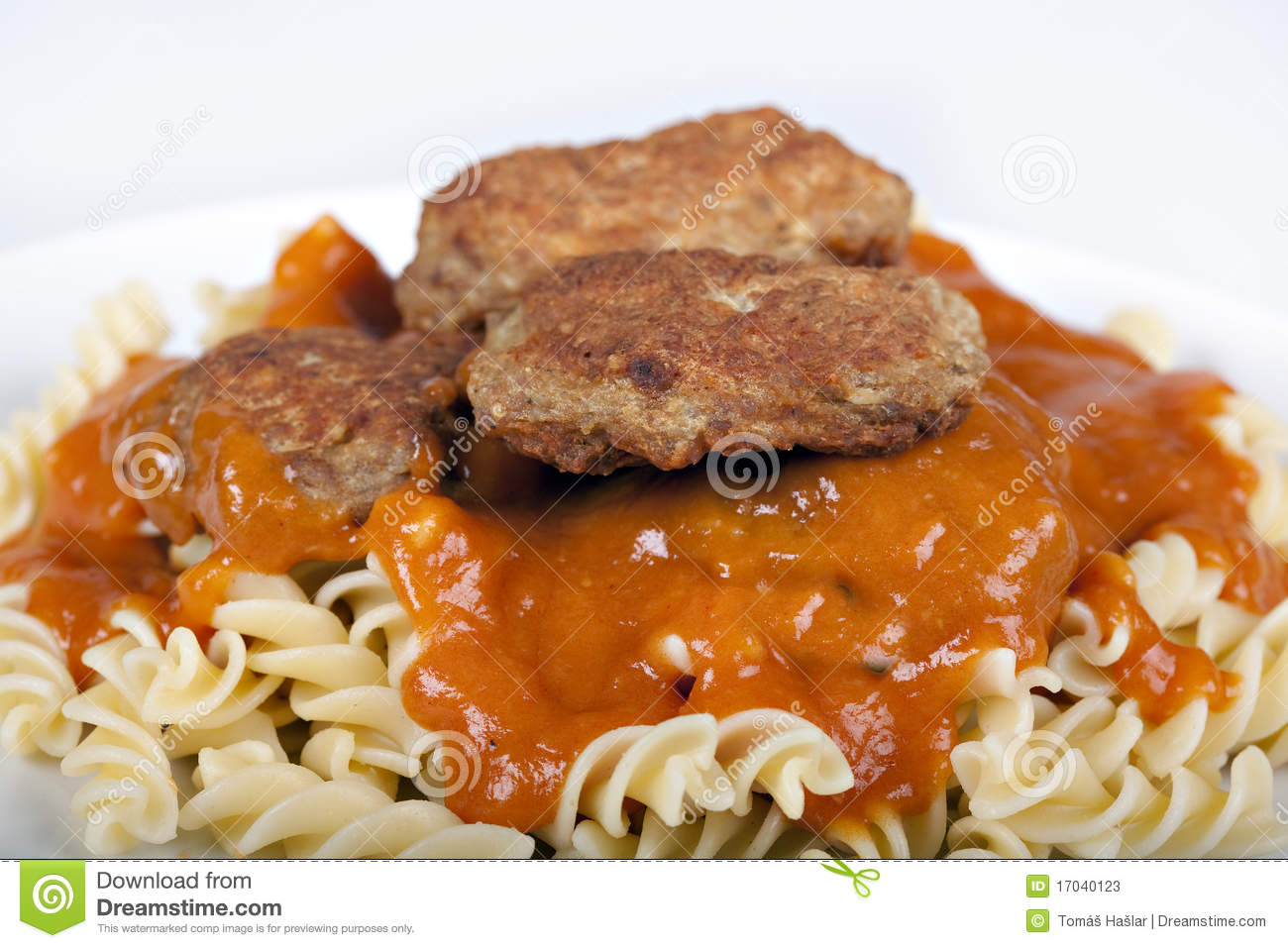 Meatballs With Tomato Sauce And Fusilli Stock Photos ...