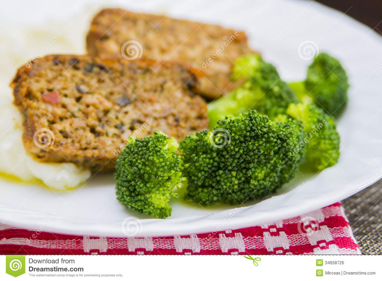 ... baked homestyle pork meatloaf with mashed potatoes and broccoli