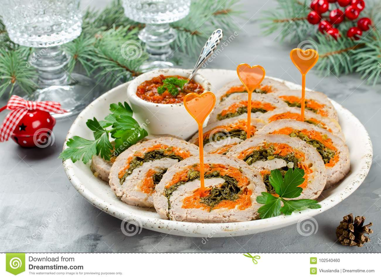 Christmas Meatloaf.Meatloaf With Parsley Cheese And Carrots Stock Photo