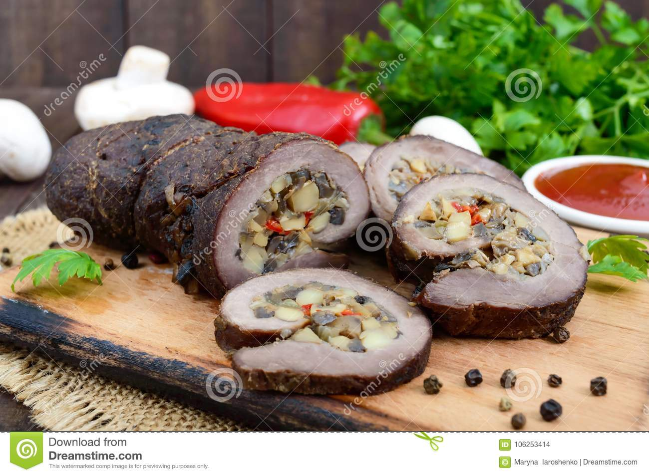 Christmas Meatloaf.Meatloaf Roll Stuffed With Mushrooms Sweet Pepper And
