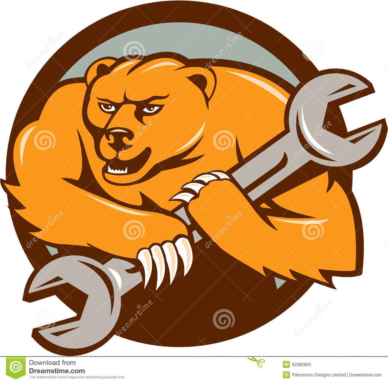 Mecánico Spanner Circle Cartoon Del Oso Grizzly