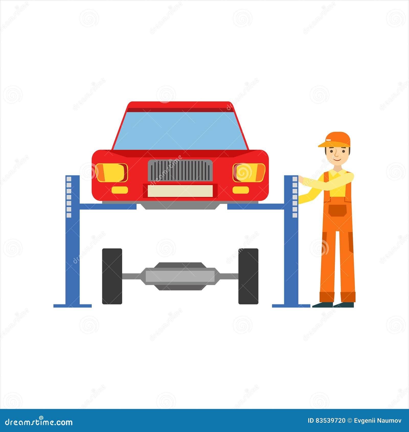 Mecânico de sorriso Repairing The Suspension na garagem, ilustração do serviço da oficina do reparo do carro