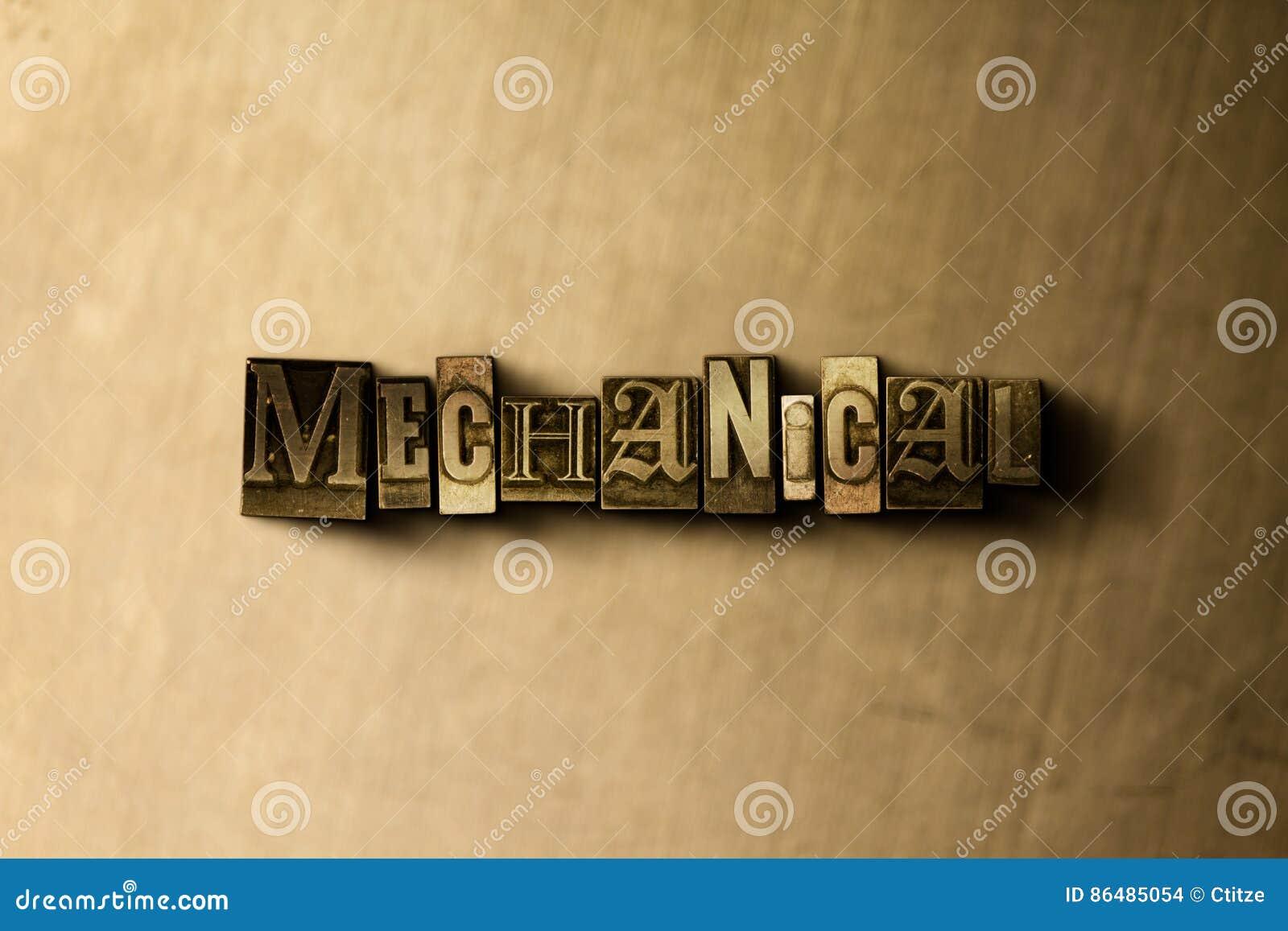 MECÂNICO - o close-up do vintage sujo typeset a palavra no contexto do metal
