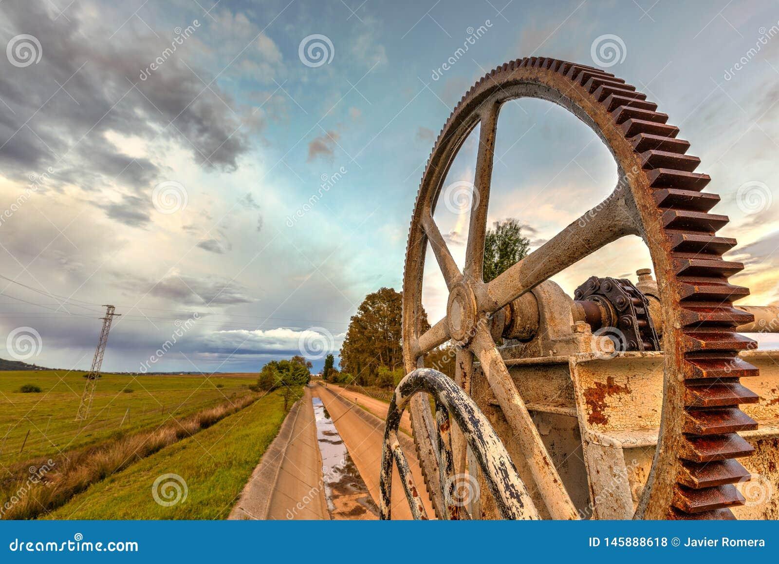Mecanismo oxidado de las ruedas dentadas para un canal de riego