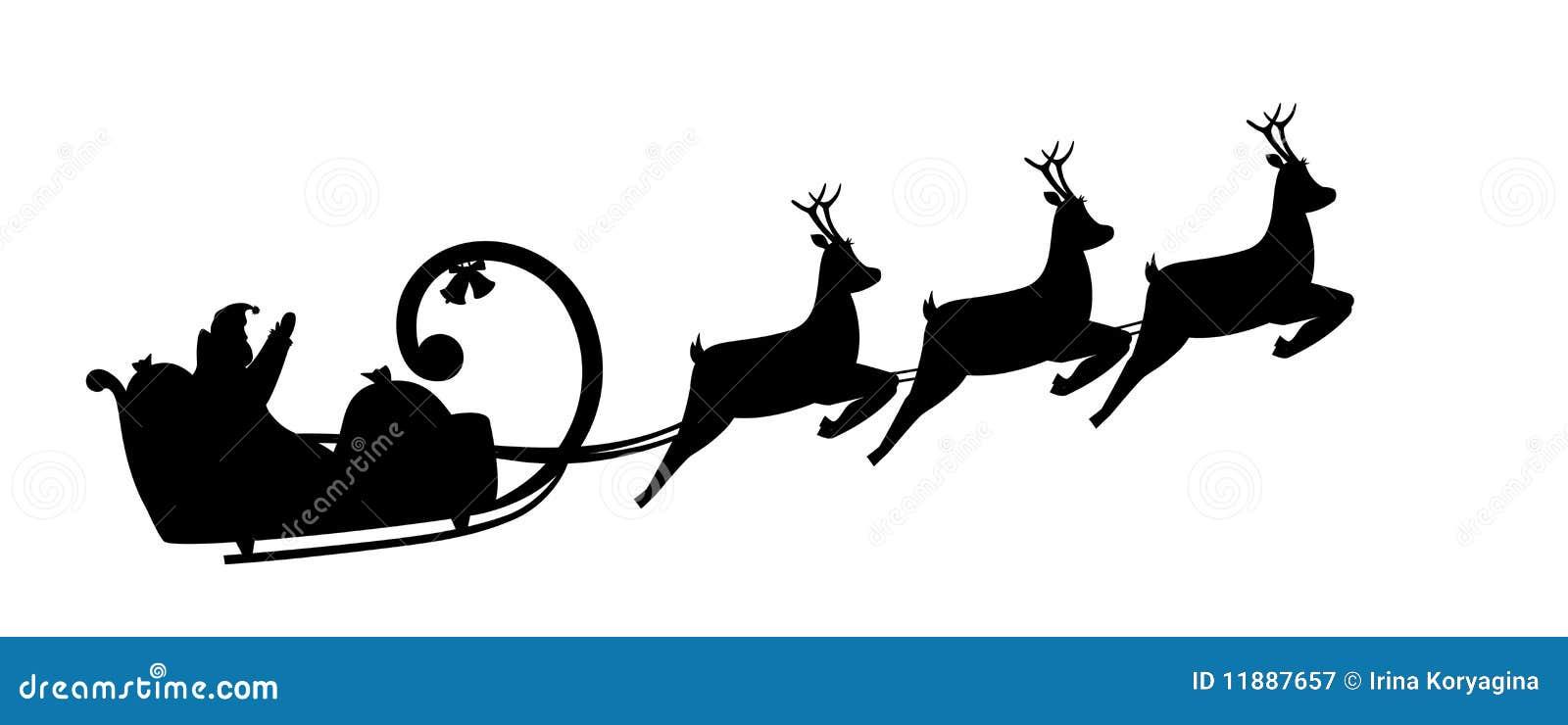 Mecanismos impulsores de Papá Noel de la silueta en un trineo