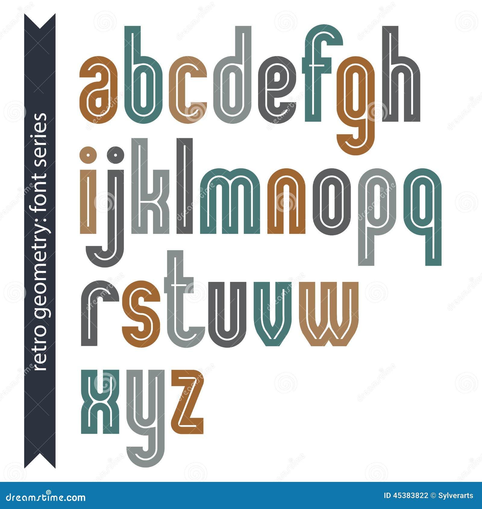 Mecanografiado colorido elegante del vector, letras retras