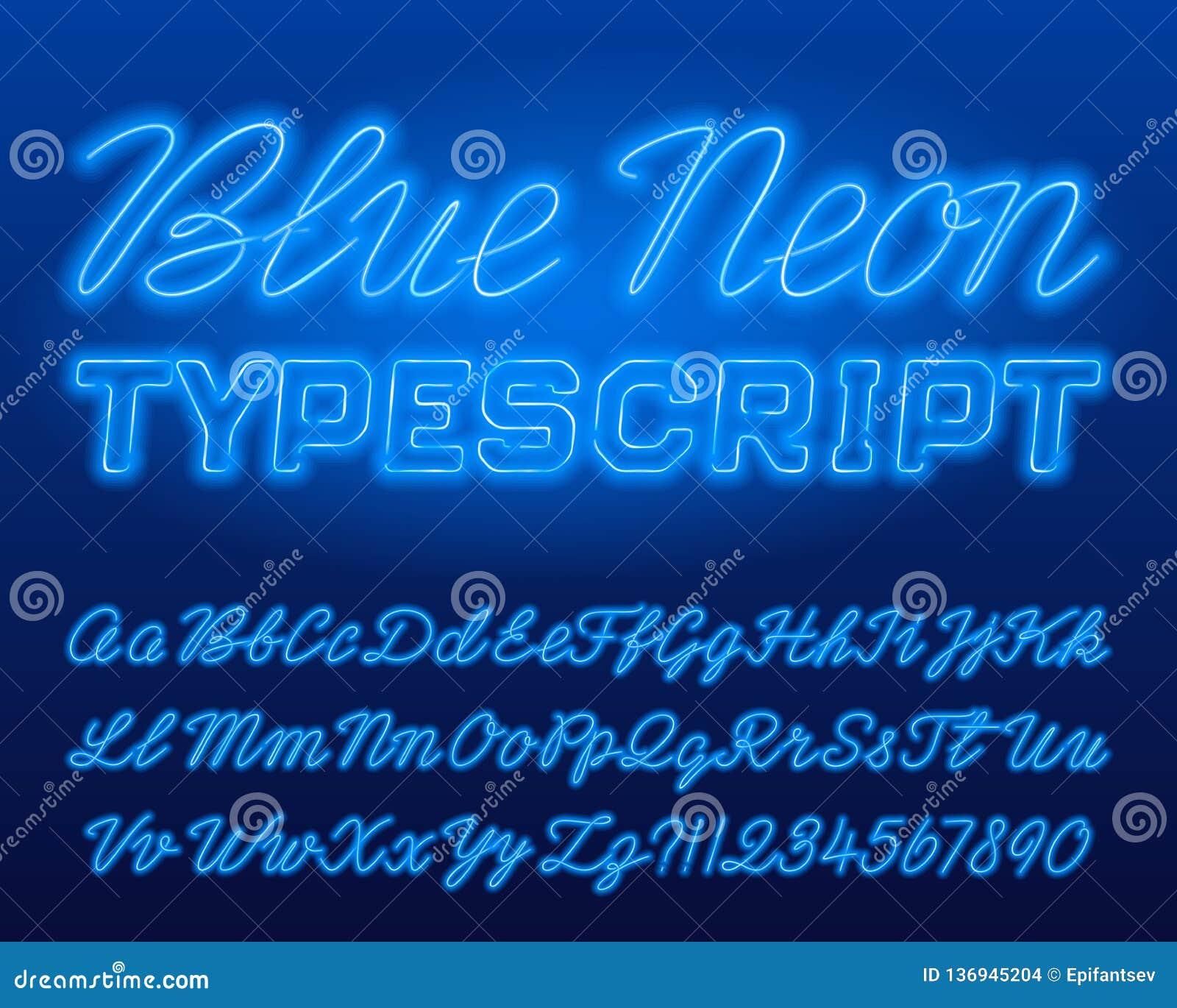 Mecanografiado de neón azul Minúscula azul del color y letras y números brillantes mayúsculos