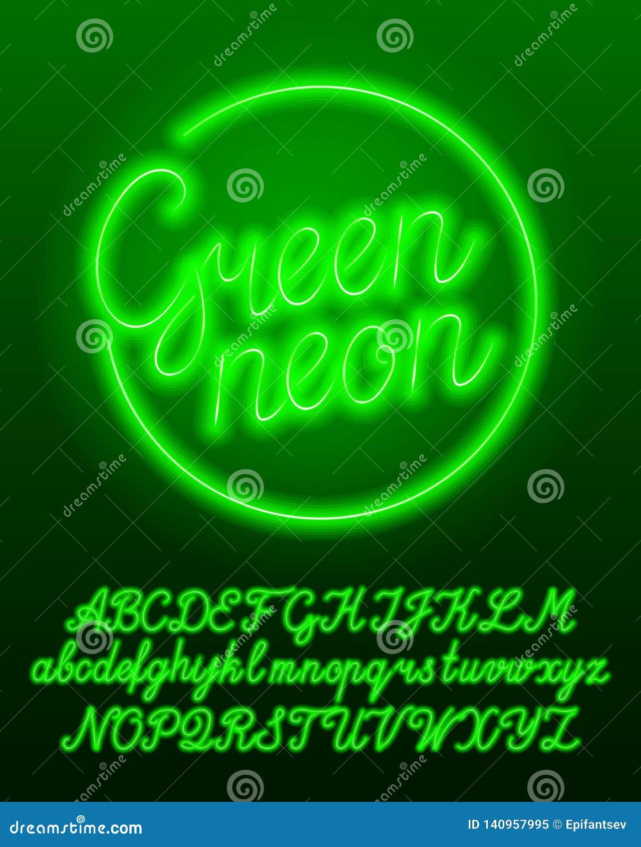 Mecanografiado de neón verde Letras mayúsculas y minúsculas de la bombilla del color verde y números