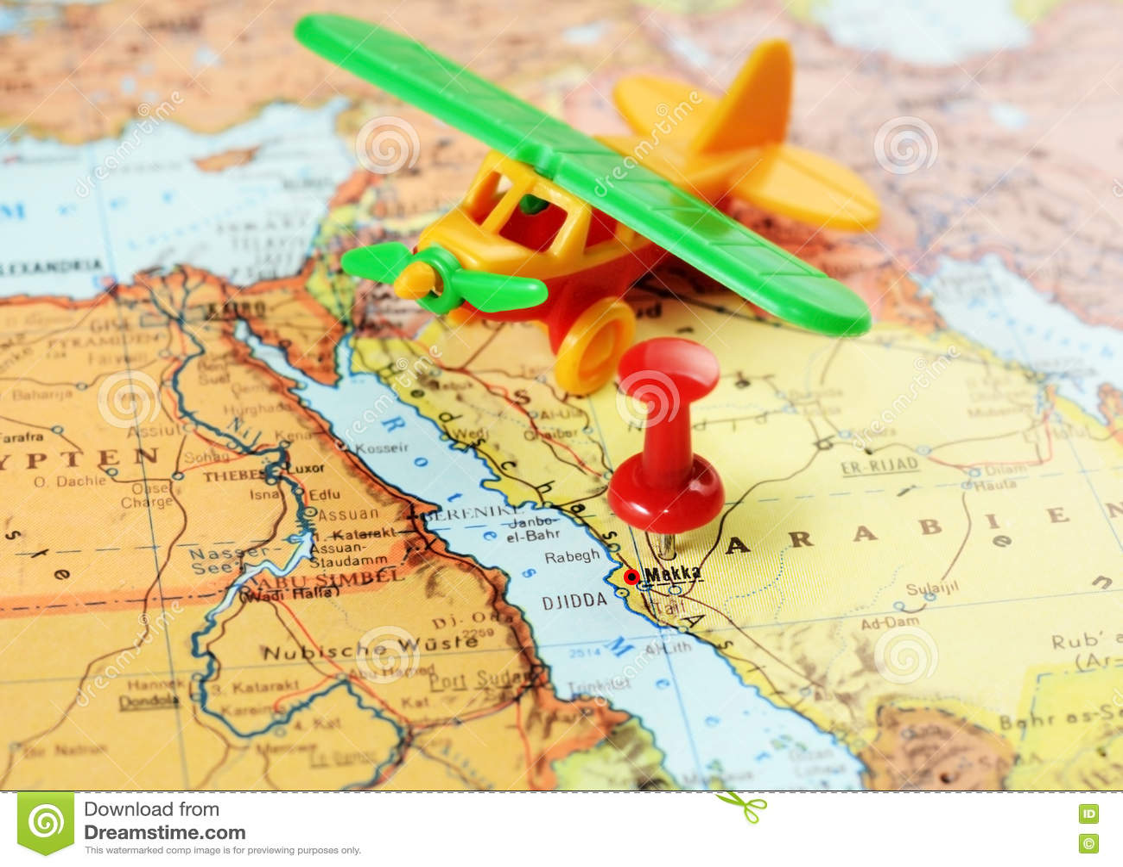 Mecca,Saudi Arabia Airplane Map Stock Photo - Image of islamic ...